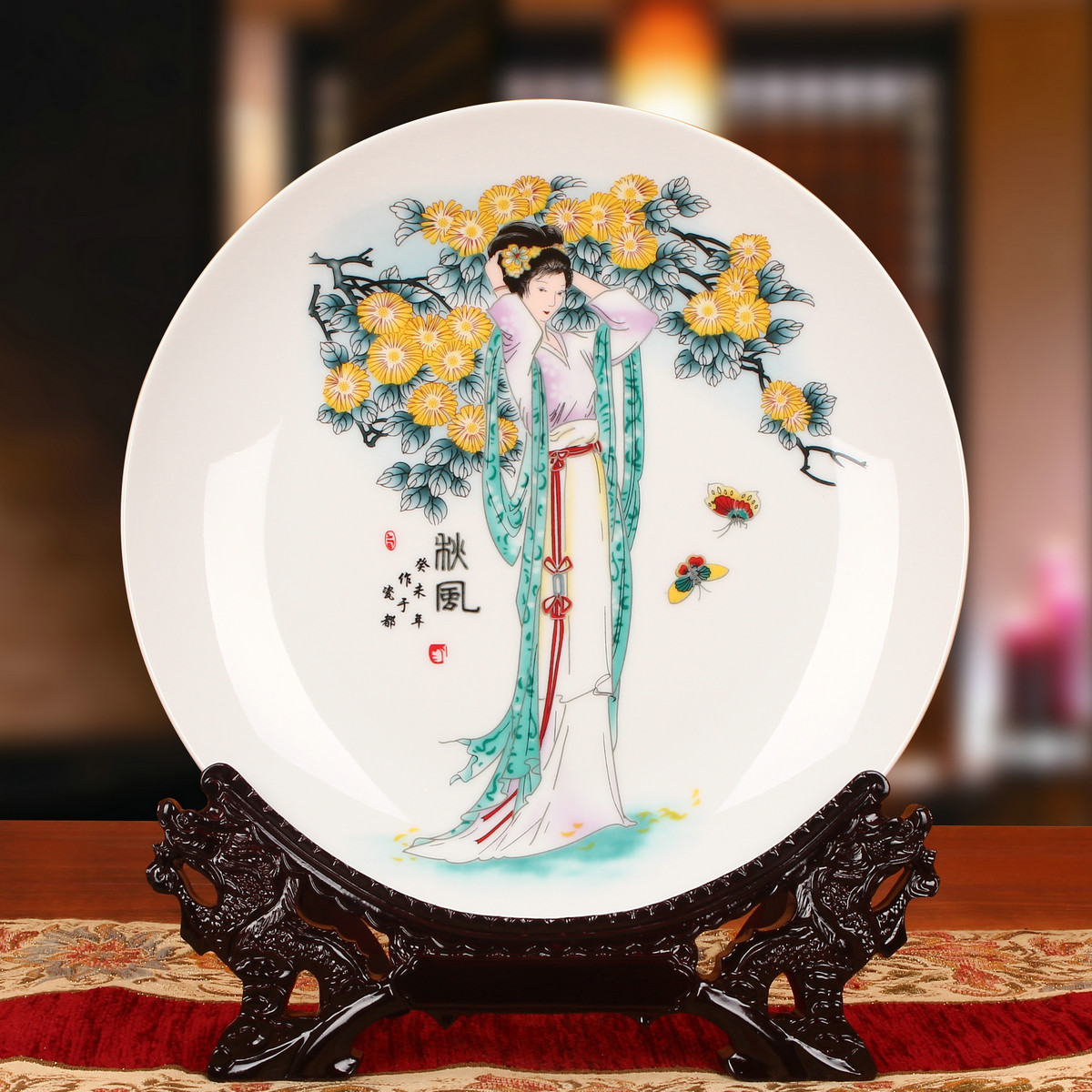 Jingdezhen ceramics ladies figure sitting on a plate hanging plate faceplate chinese classical ornaments home decor furnishings