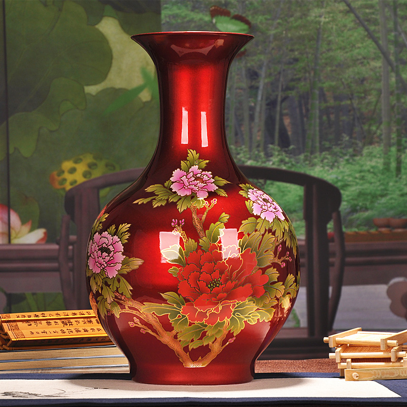 Jingdezhen ceramics living room vase ornaments modern chinese home decorations chinese red vase crafts