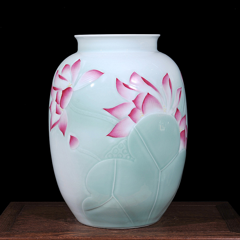 Jingdezhen ceramics painted green shadow carving lotus bottle chinese home accessories living room decorative ornaments