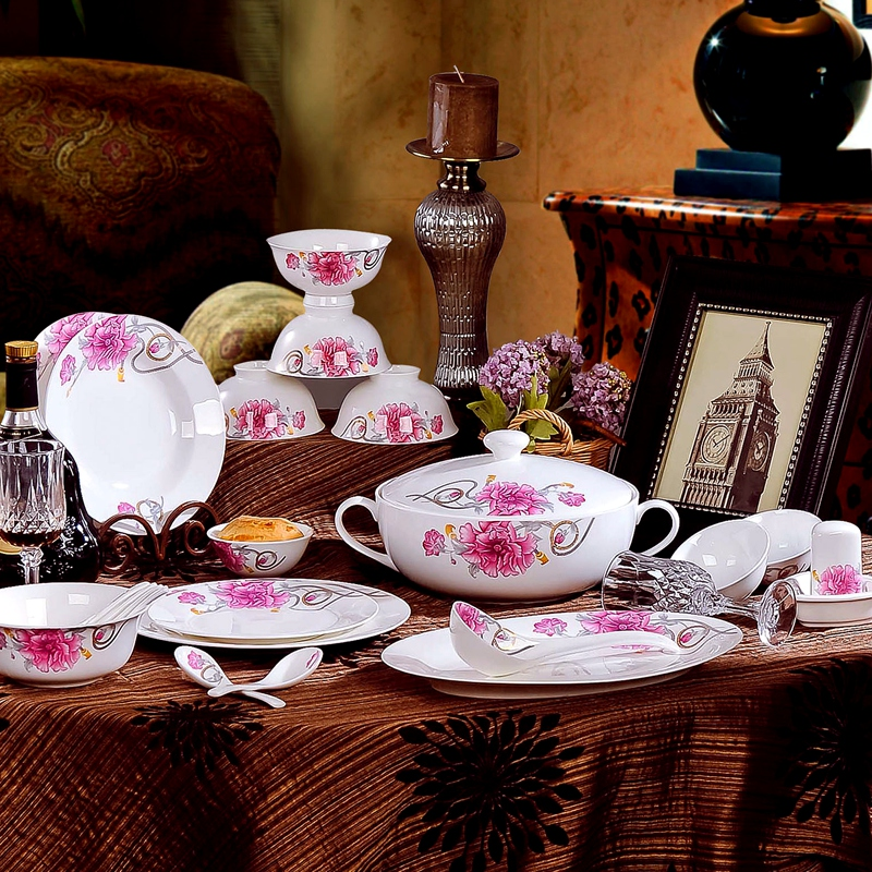 Jingdezhen porcelain tableware suit 56 bone china tableware bowl dish microwave bowl ceramic tea boutique gift to send