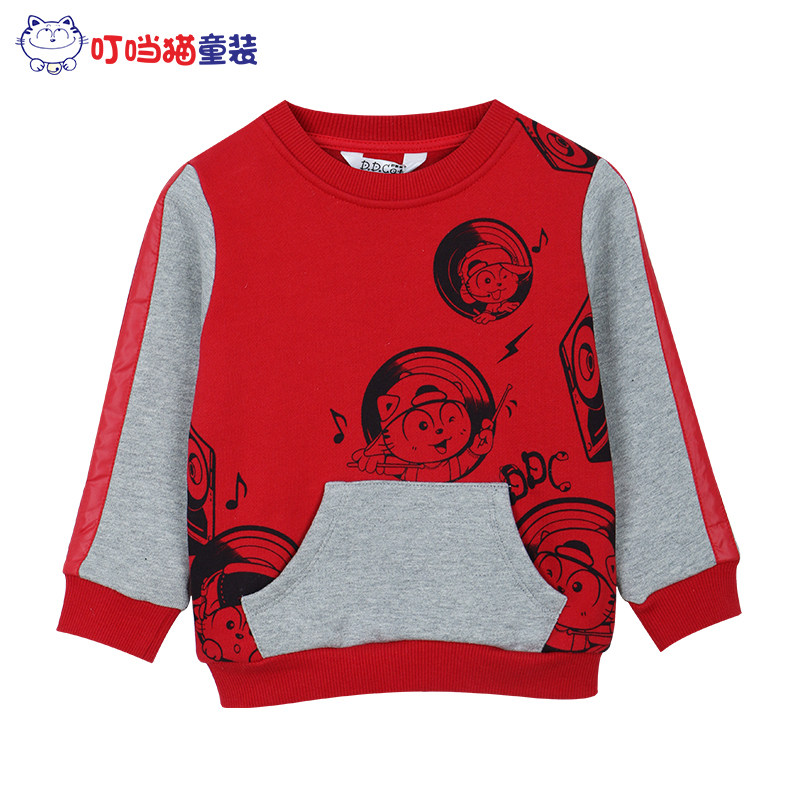 Jingle cats kids fashion boys fall and winter clothes plus velvet round neck sweater medium and small boy child cotton t-shirt leisure