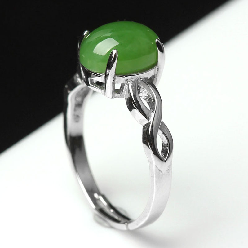 Jinshi yu genuine 925 silver inlaid natural and nephrite jade ring ring ring jade jewelry