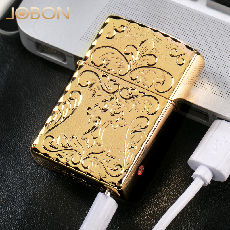 Jobon bang double arc usb charging lighter windproof lighter creative slim electronic type cigarette lighter personality ceremony