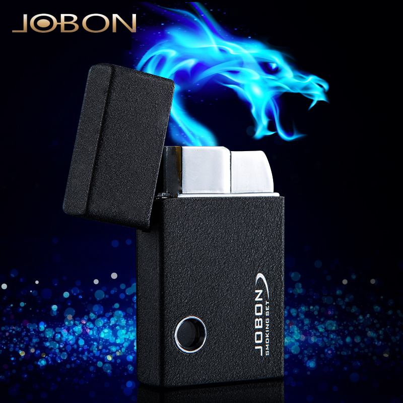 Jobon bang lighter blue flame billowed into the inflatable cigar lighter metal thin windproof lighter