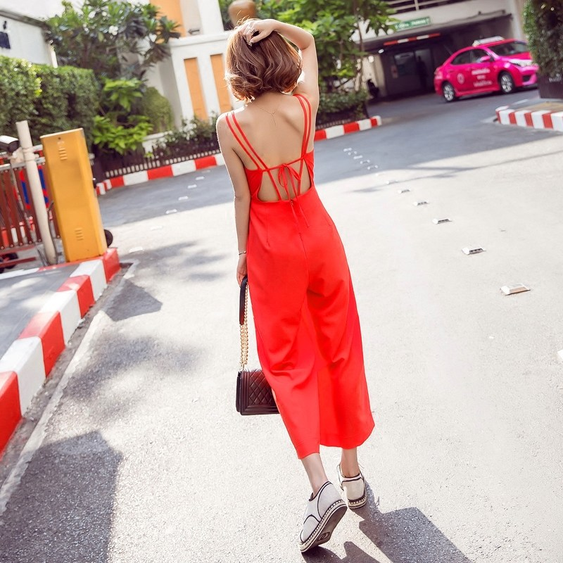 Jocr/joan kabob suspenders piece pants summer pantyhose straps v-neck halter waist piece pants wide leg pants beach pants