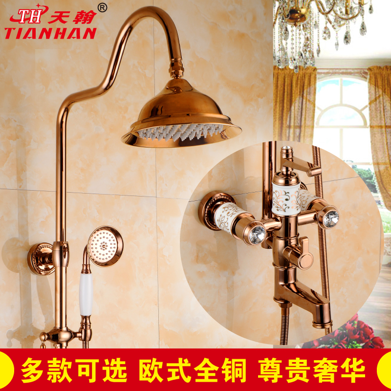 John day new suite shower bathroom full copper continental rose gold plated ceramic faucet lift shower
