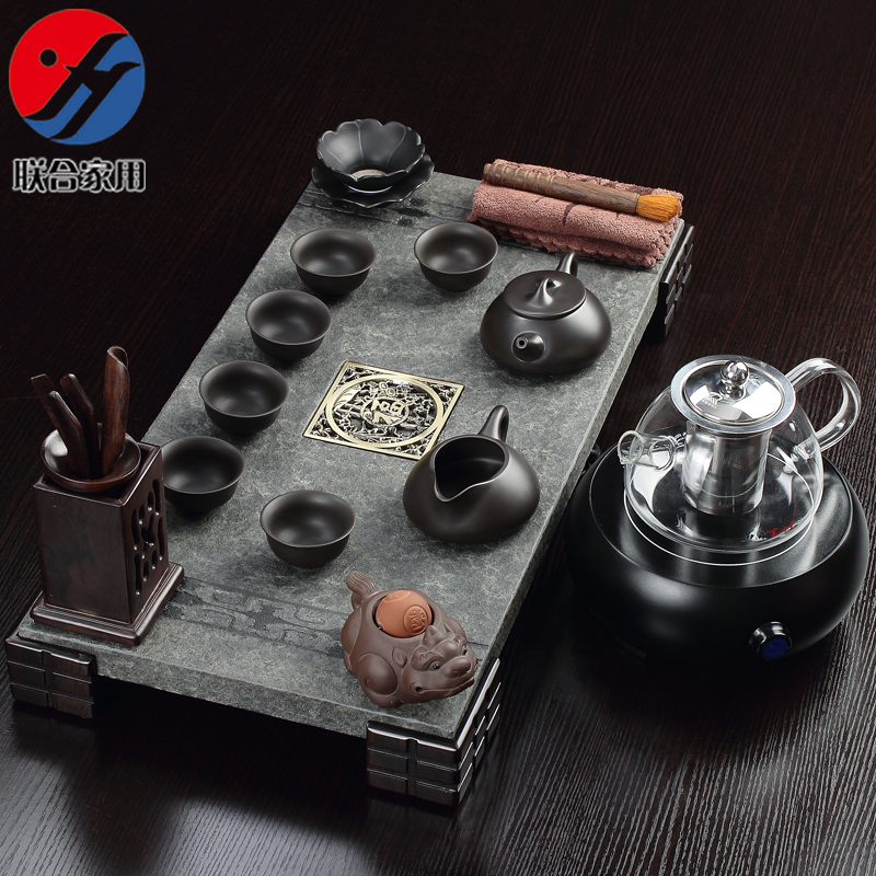 Joint household natural black stone black stone tea tray tea tray purple suit electric ceramic stove kung fu tea set special offer