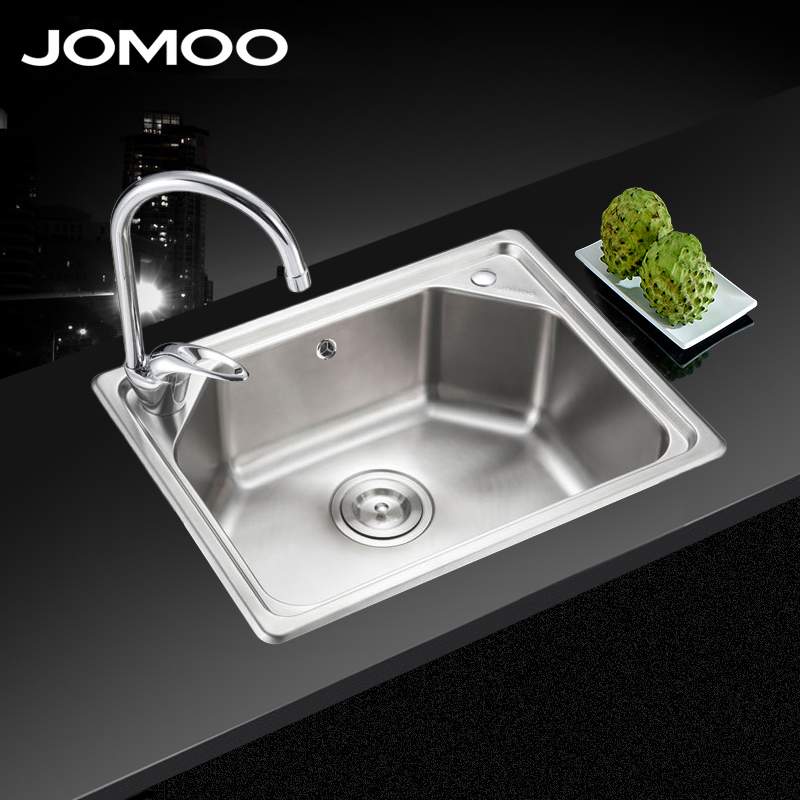 Jomoo jiumu one piece 304 stainless steel kitchen sink single package vegetables basin sink suit 06059