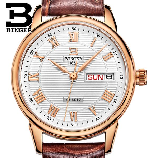 Jordan chan endorsement genuine binger accusative steel watches men's waterproof leather quartz watch men watch parallel lines