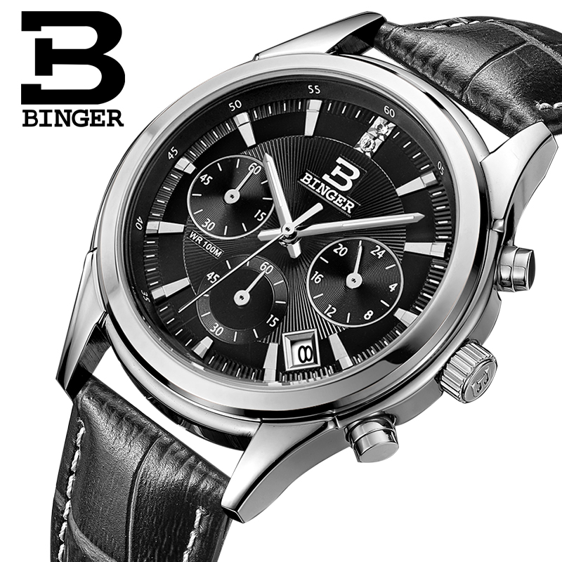 Jordan chan endorsement genuine binger accusative watch three men ran second chronograph breeze series quartz watch men watch