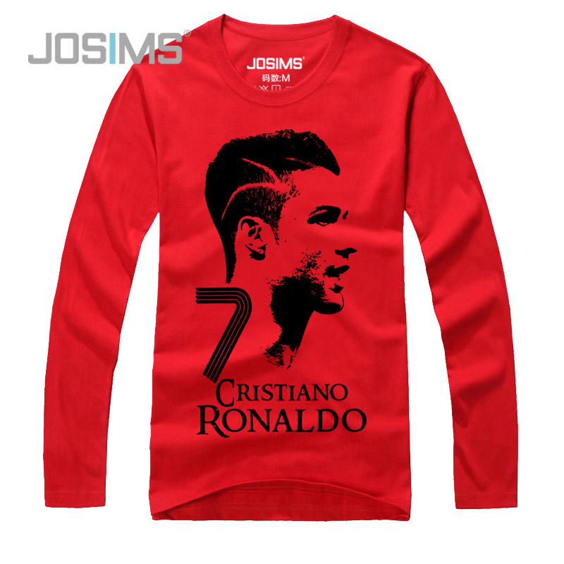 Josims! autumn new men's long sleeve cotton t-shirt football real madrid c ronaldo cristiano ronaldo cr7
