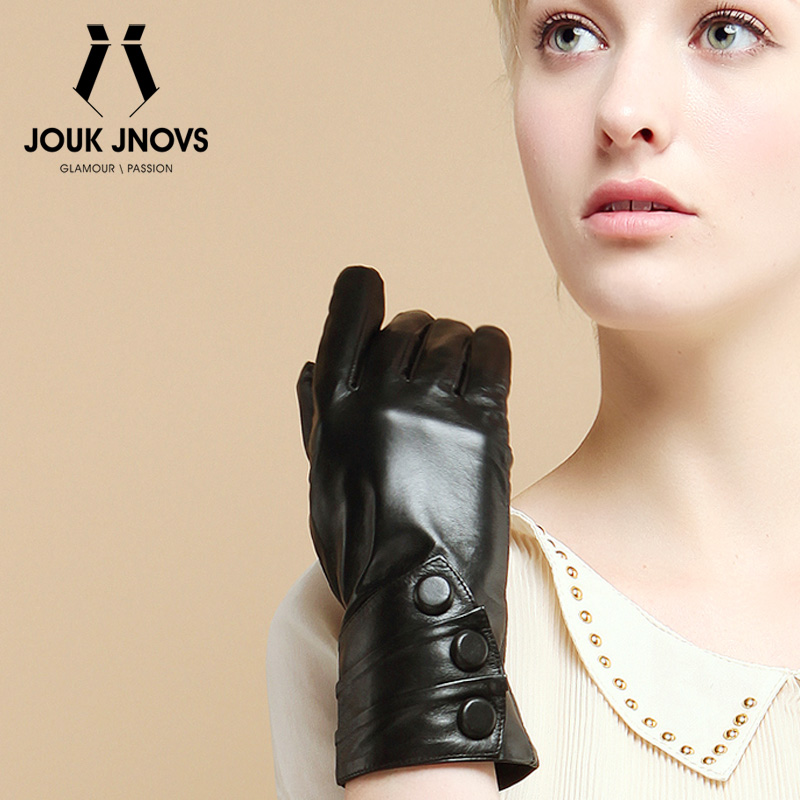 Jouk jnovs quality fashion three buckle ms. sheep skin leather gloves touch touchscreen gs5005