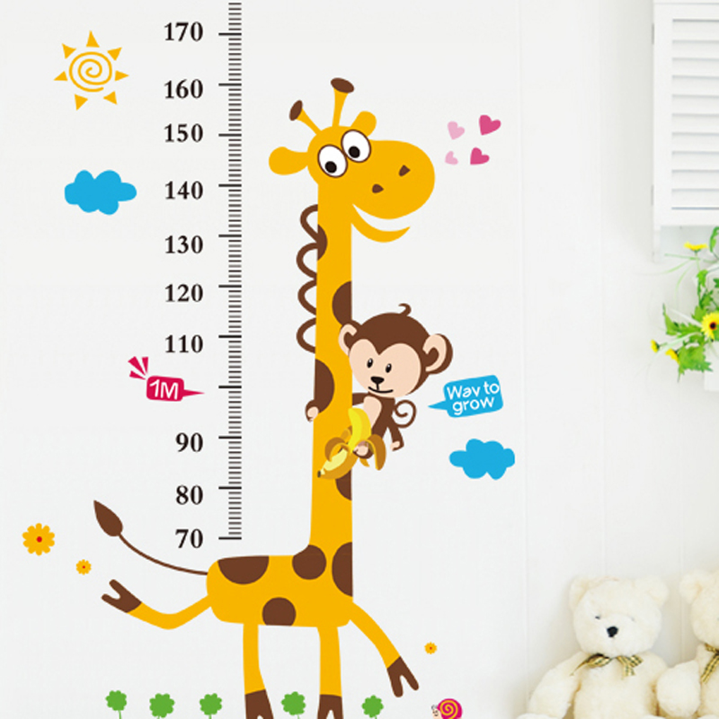 Joy giraffe height stickers removable wall sticker quantity feet tall children's room furnished nursery wall between