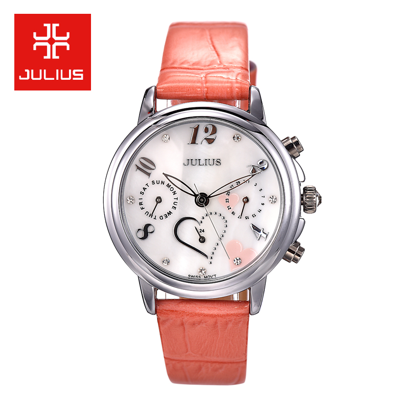 Julius poly lee watches fashion hollow six needle end business female form waterproof quartz watch calendar week