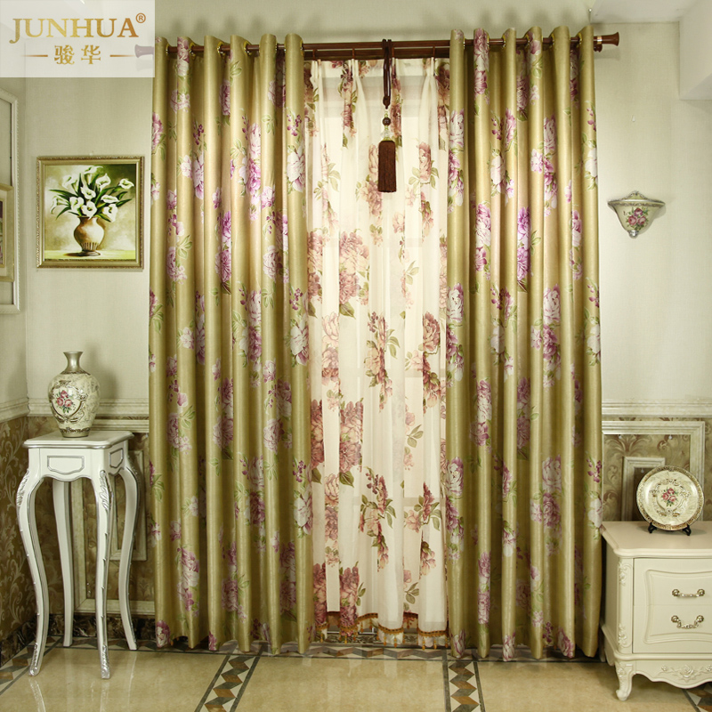 Junhua gauzes rose about chinese custom curtains shading windows curtain rose