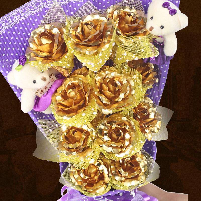 Buy K Gold Rose Gold Foil Roses Valentines Day Gift Bouquet To Send
