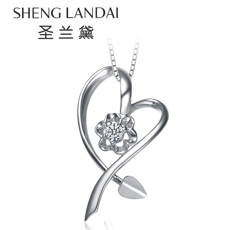 å£å…°é»k white gold diamond heart pendant necklace pendant couple pendant necklace pendant single genuine diamond