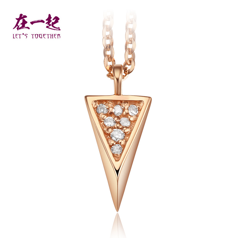 K white gold necklace with rose gold diamond pendant necklaces female models clavicle chain pendant wedding gifts