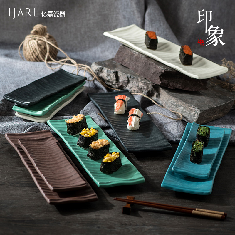 Ka billion creative japanese ceramic rectangular plate of sushi plate fish plate inventory heart cake pan dish suits nordic impression