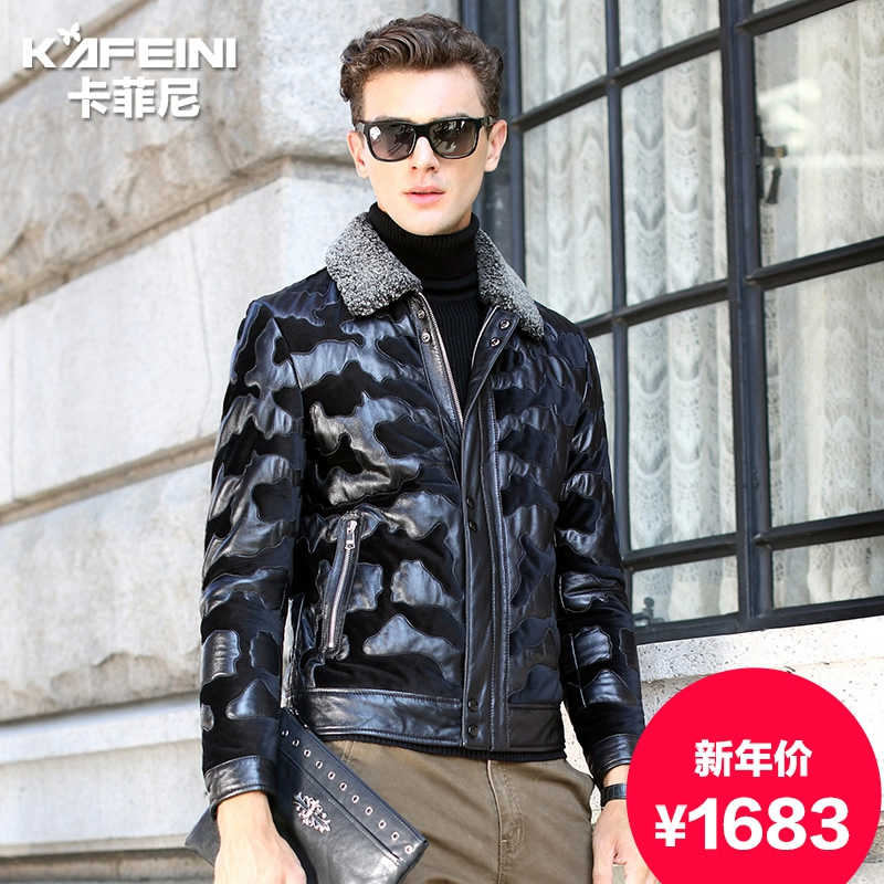 Ka feini 2015 winter new haining leather leather sheep skin fur lambs wool coat lapel coat male fashion
