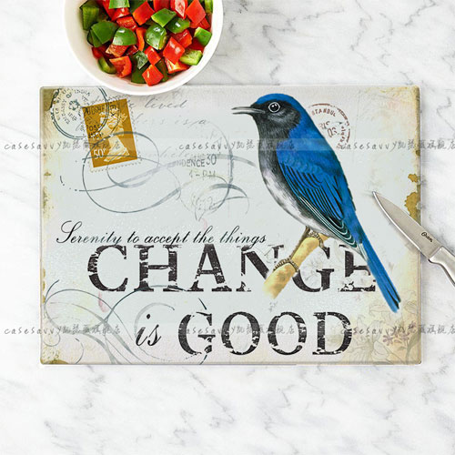 Kaiser jorvi bird pattern unleaded tempered glass cutting board chopping board cut fruit chopping board antibacterial and easy to clean