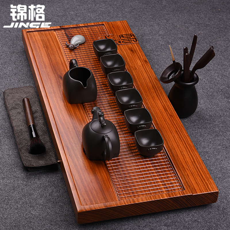 Kam grid drain style kung fu tea wood tea tray yixing tea set geyao ceramic tea sea package deals