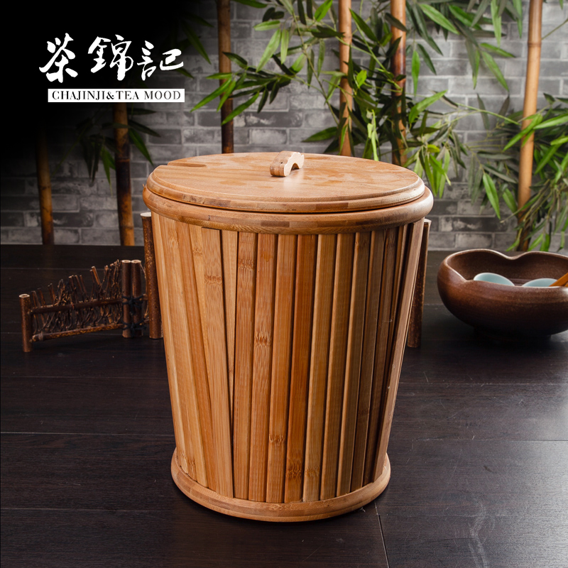 Kam kee tea woodiness waste bucket bucket bucket bucket of tea tea leaves plastic bucket bucket lid thick drainage tea accessories tea ceremony with zero