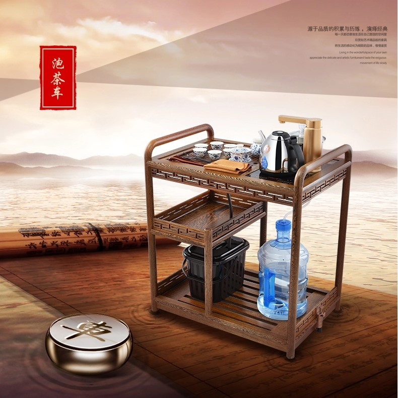Kamjove/gold stove mobile cart wood tea tray entire tea tea car movable pulley pantry car