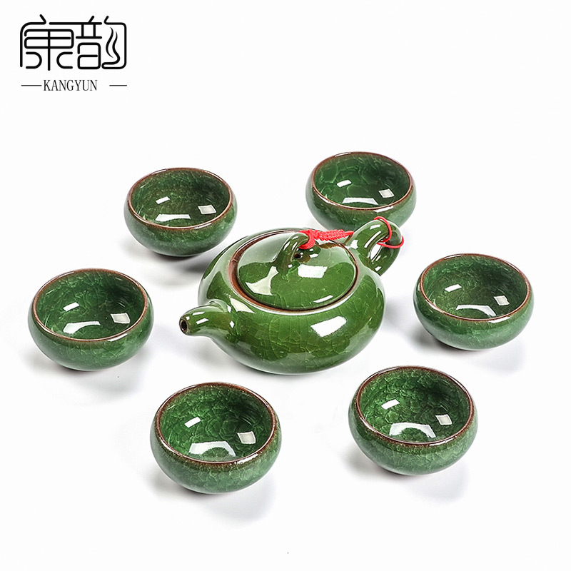Kang yun entire binglie colorful glaze ice cracks ceramic tea set kung fu tea cup teapot set special