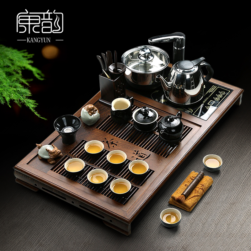 Kang yun wenge wood tea tray tea set special offer electric furnace four porcelain ceramic package of kung fu tea