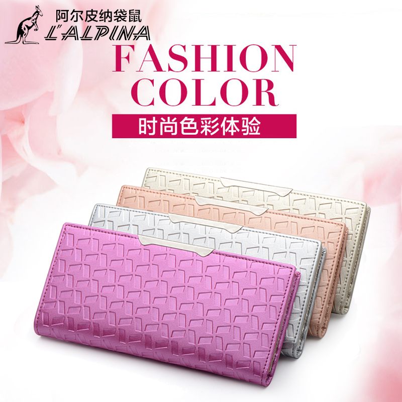 Kangaroo genuine leather wallet ms. long wallet leather wallet card bit more leather folder embossed thin models korean tidal 2016 new