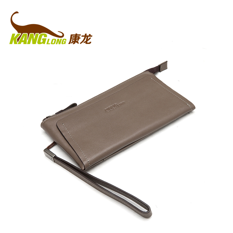 Kanglong new men's leather long paragraph money header layer of leather wallet commerce korean version of the clutch tide