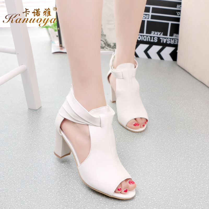 Kanuo ya 2015 summer new sandals fish head thick with high heels sandals zipper european and american fashion black and white