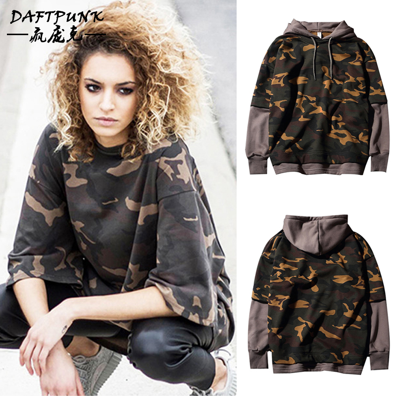 Kanye kanye west lovers camouflage hooded sweater influx of female students hedging loose stitching fake two coat