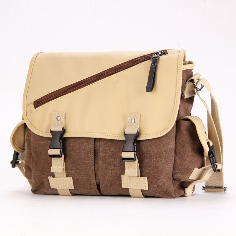Kapok valley men's new canvas shoulder bag messenger bag leisure bag schoolbag college wind hit the color messenger bag