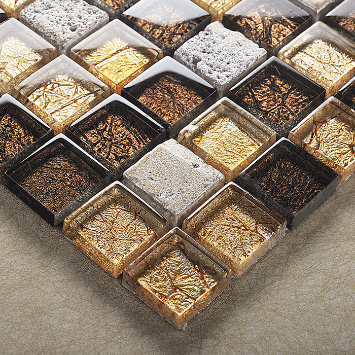 Kasaro euclidian style mirror glass mosaic stone mosaic bathroom tile puzzle backdrop wall stickers