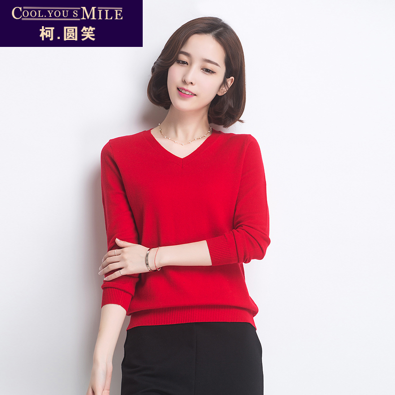 Ke yuan laugh 2016 new winter female pure wool sweater knit v-neck pullover sweater solid color sweater korean fashion