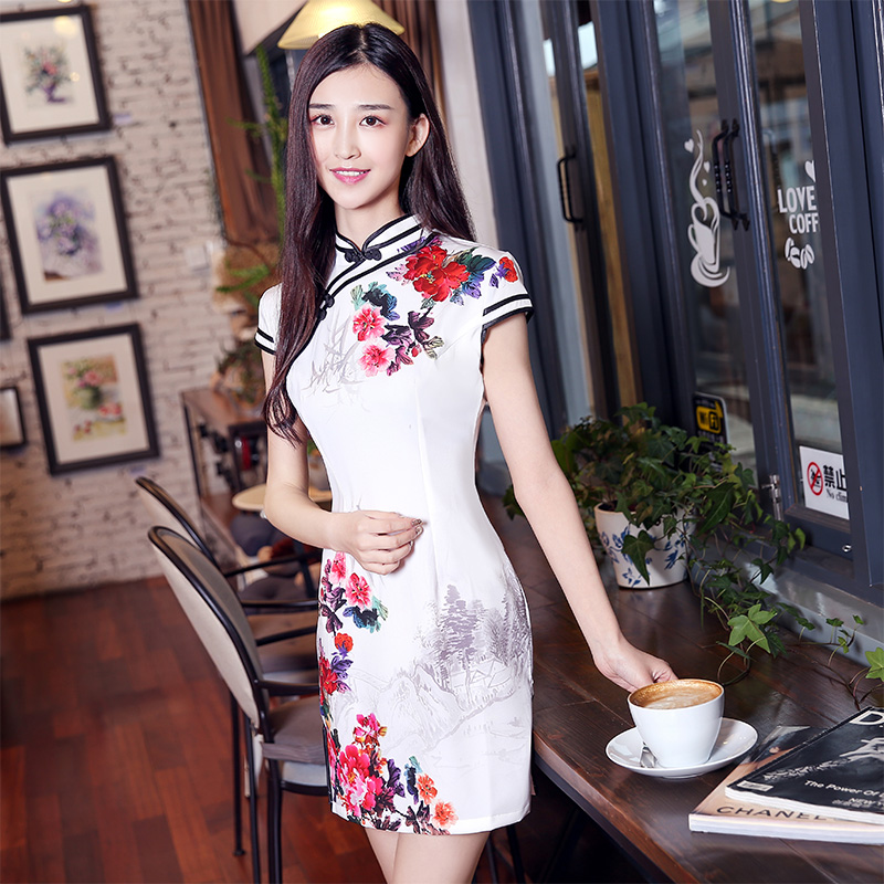 928aaeffc Kee gown skirt 2016 new summer improved cheongsam dress summer fashion slim  retro short paragraph qipao