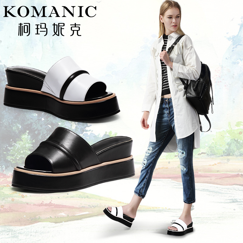 Kema penny 2016 summer new casual sheepskin thick crust leather shoes a font sandals and slippers female european stations