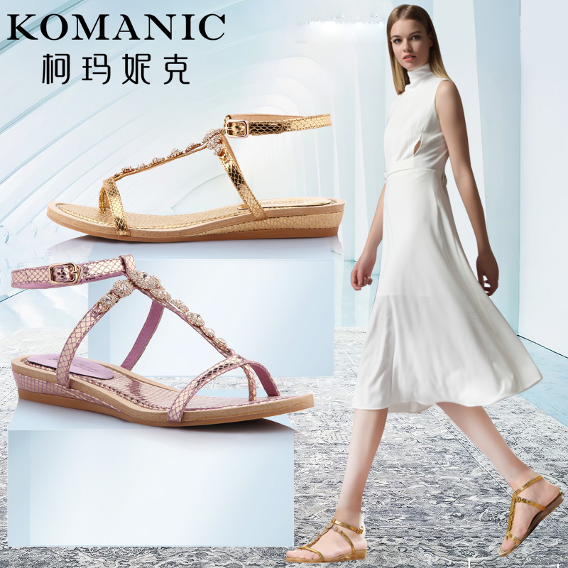 Kema penny summer rhinestone thong type these'structural hogskin comfortable thong sandals casual flat sandals leather shoes