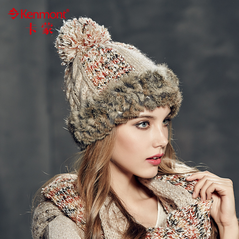 Kenmont winter hat female rabbit fur winter hat handmade knitted hat wool hat winter hat female wild
