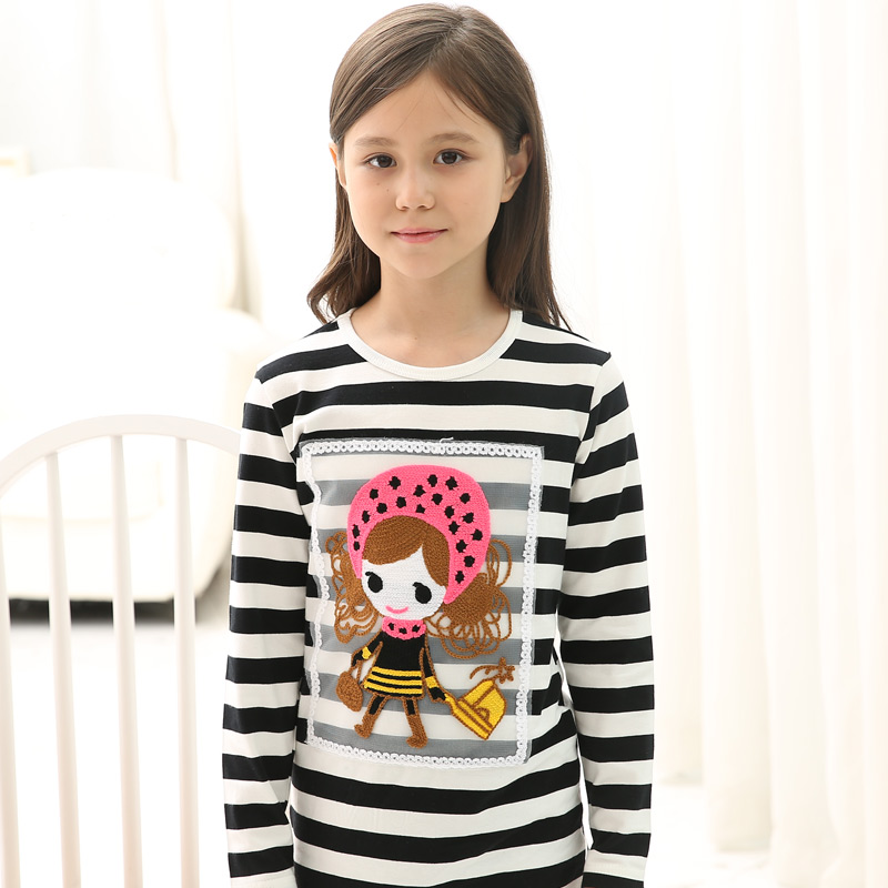 Kids 2016 spring new children's t-shirts for girls spring models cartoon bottoming shirt striped long sleeve shirt and long sections