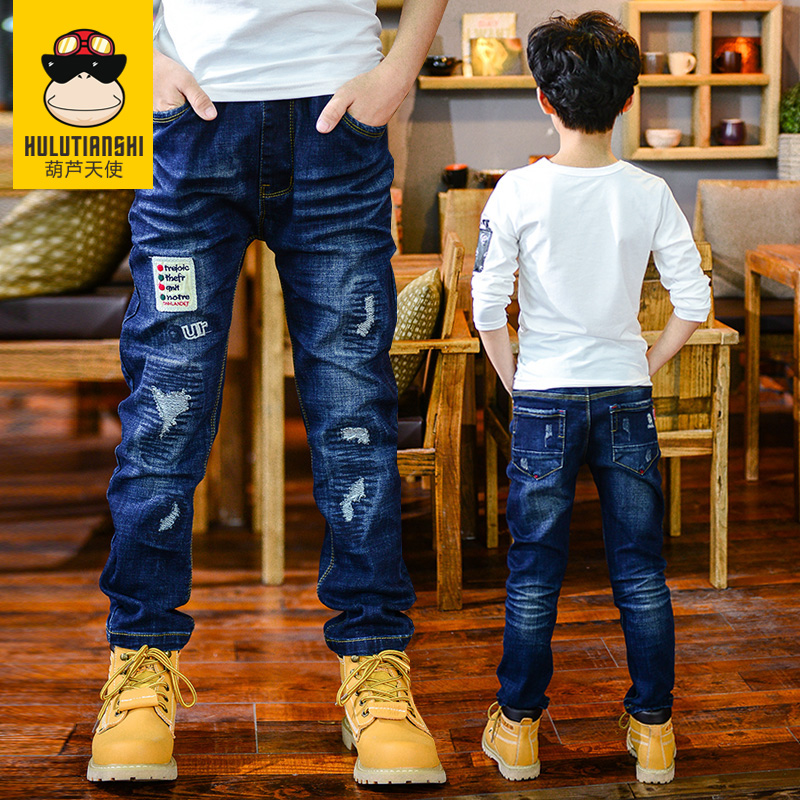 Kids boys autumn 2016 new children 7 8 11 9 big virgin straight jeans jeans trousers 10 pants casual pants 12 Years of age