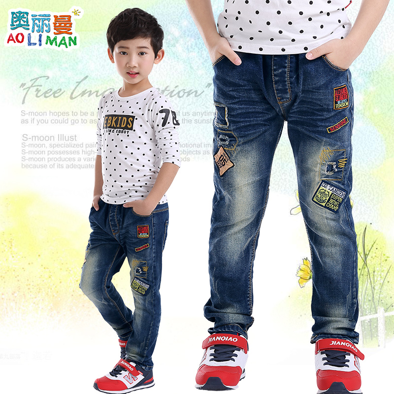 Kids boys jeans pants 2016 autumn zhongshan university children's korean version of casual denim trousers spring and autumn paragraph boy pants