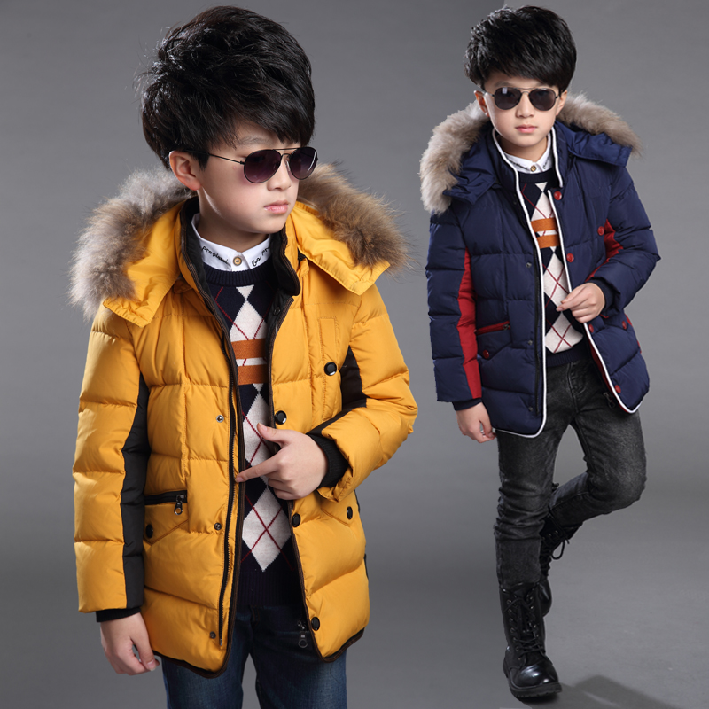 Kids boys long section of thick padded child big virgin warm winter 2015 models futuroic thick coat
