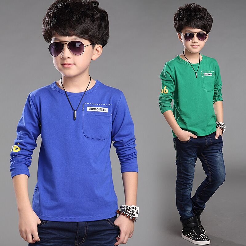 Kids boys spring 2015 spring and autumn new men long sleeve t-shirt t-shirt big virgin child compassionate bottoming shirt