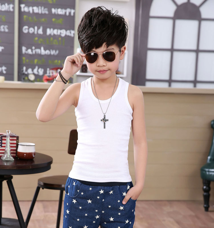 Kids boys vest cotton vest male child big boy thin soft fold sleeveless vest korean children t-shirt tide