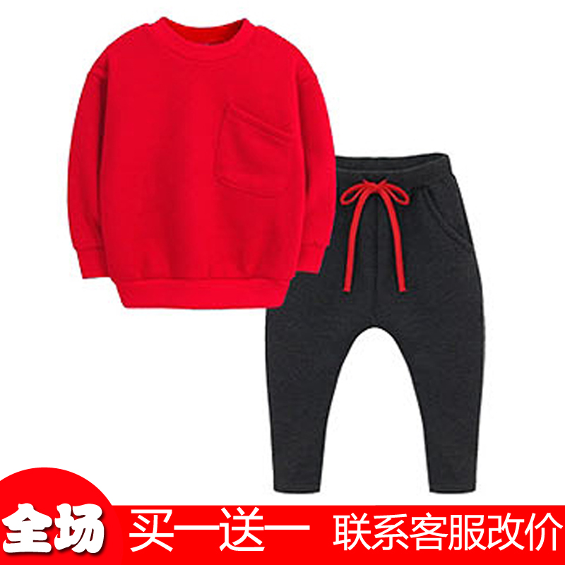Kids boys winter plus thick velvet suit children's sports suits girls red sweater suit winter beiji rong