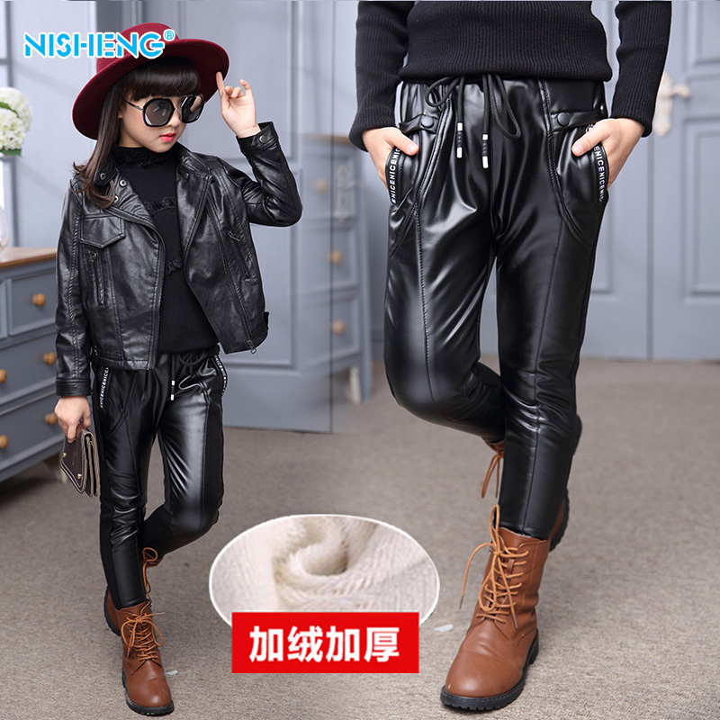 Kids girls autumn 2016 new children's leggings girls plus thick velvet pu leather pants leather pants winter tide
