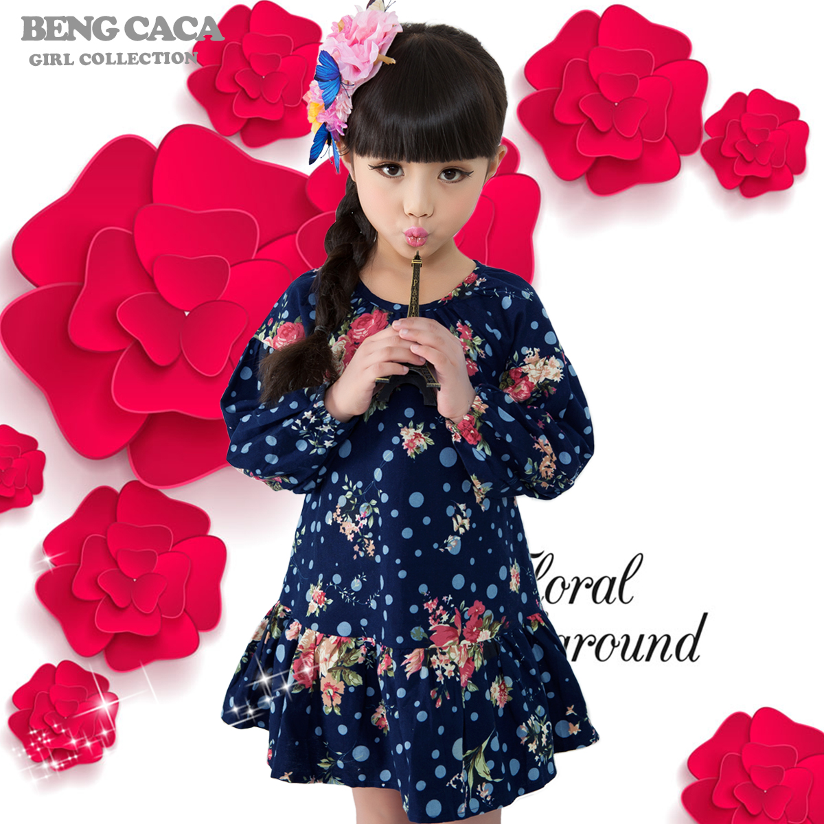 Kids girls autumn 2016 new dress cheap girls spring and autumn long sleeve cotton dress child princess dress children